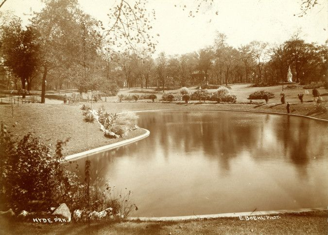 Pond Scene in Hyde Park. Photograph by Emil Boehl,  ca. 1890 Missouri History Museum Photograph and Print Collection. Parks  n38697